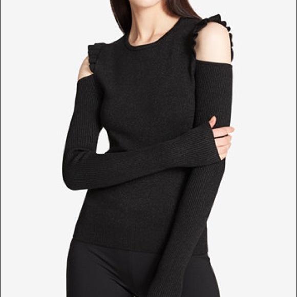 8b0253bd4c6c34 DKNY Balck Ruffled Cold Shoulder Sweater NWT